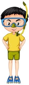 Rapaz de camisa amarela com snorkel e barbatanas