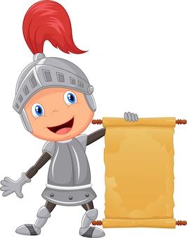 Rapaz de cavaleiro dos desenhos animados segurando o anúncio em branco