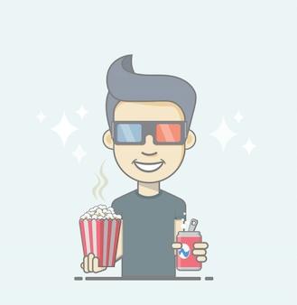 Rapaz de óculos 3d, segurando a caixa de coca-cola e pipoca.