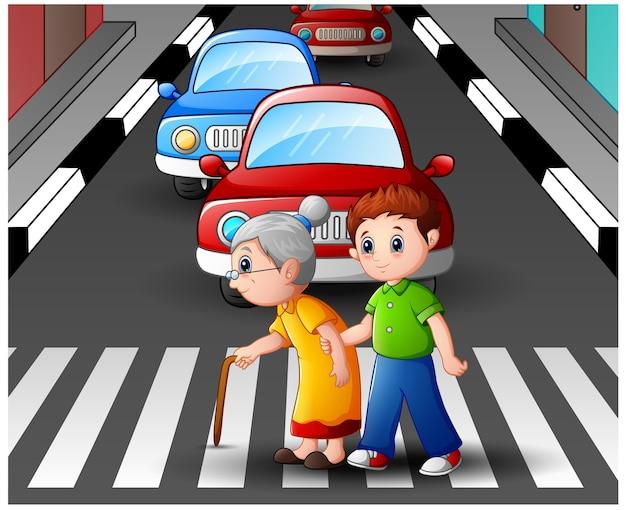 Rapaz dos desenhos animados ajuda a vovó a atravessar a rua