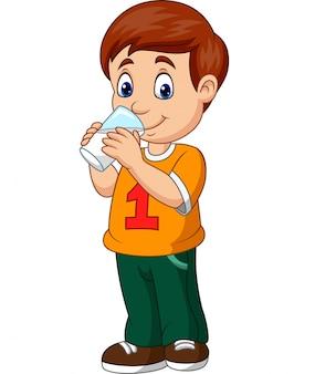 Rapaz dos desenhos animados bebendo leite