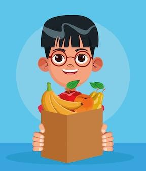 Rapaz dos desenhos animados com caixa com frutas, design colorido