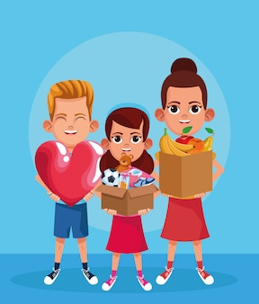 Rapaz dos desenhos animados com grande coração e meninas segurando uma caixas com materiais de doação sobre azul
