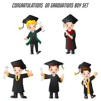 Rapaz dos desenhos animados em trajes de formatura com conjunto de poses diferentes