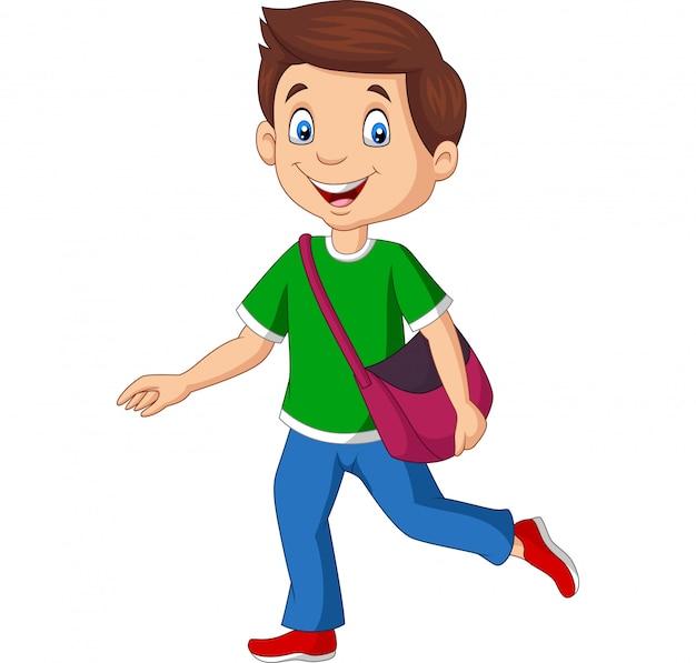 Rapaz dos desenhos animados feliz escola carregando mochila