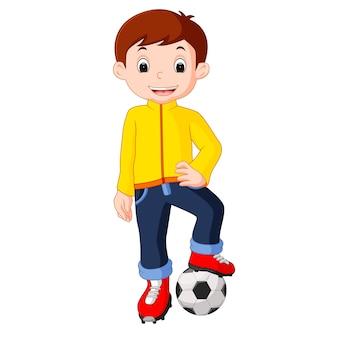 Rapaz dos desenhos animados jogando futebol