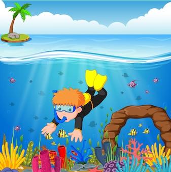 Rapaz dos desenhos animados, mergulho no mar