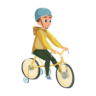 Rapaz dos desenhos animados na bicicleta de roda de treinamento de passeio de capacete