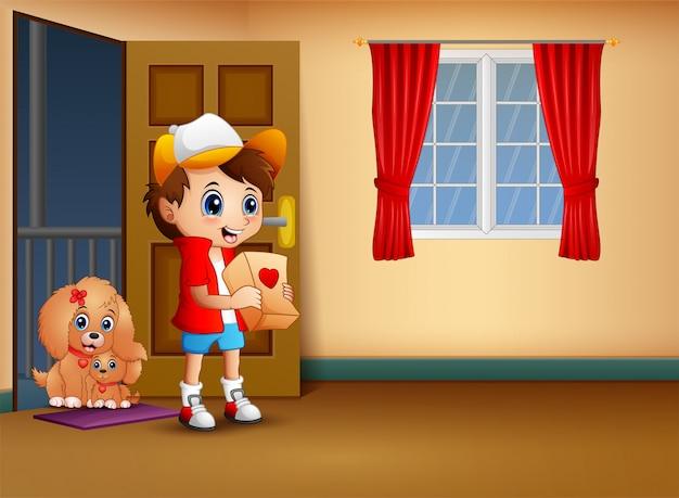 Rapaz dos desenhos animados segurando um presente no dia dos namorados