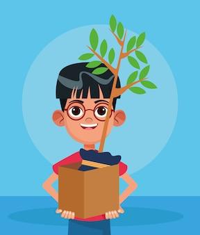 Rapaz dos desenhos animados, segurando uma caixa com uma planta sobre azul