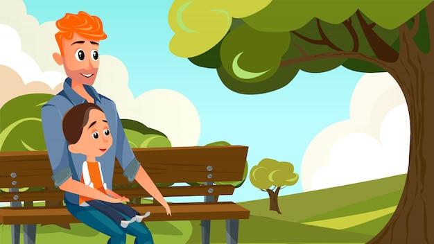 Rapaz dos desenhos animados segurar o menino sente-se no banco no parque