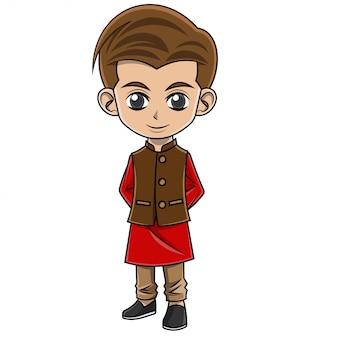 Rapaz dos desenhos animados, vestindo roupas indianas