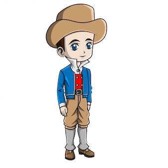 Rapaz dos desenhos animados, vestindo traje de frança