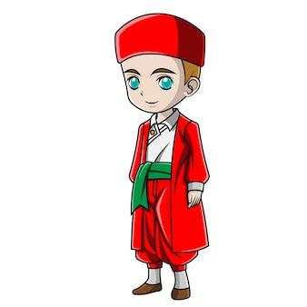 Rapaz dos desenhos animados, vestindo traje turco