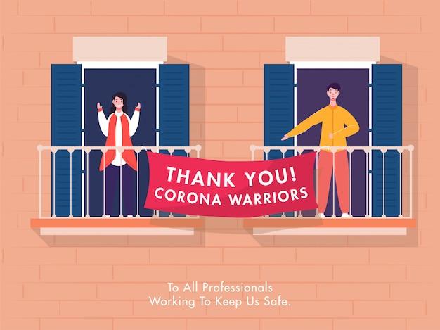 Rapaz e rapariga aplaudem dizendo obrigado guerreiros corona a todos os profissionais que trabalham para nos manter seguros.