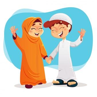 Rapaz e rapariga muçulmana feliz