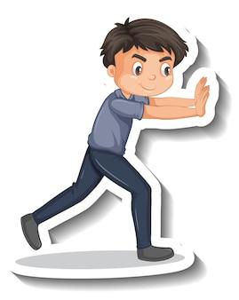 Rapaz empurrando algo personagem de desenho animado