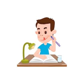 Rapaz escreve em um caderno, estilo simples, personagem de desenho animado.