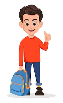 Rapaz está pronto para a escola, personagem de desenho animado