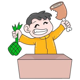 Rapaz está se divertindo, comemorando a festa de comer carne grande, arte de ilustração vetorial. imagem de ícone do doodle kawaii.