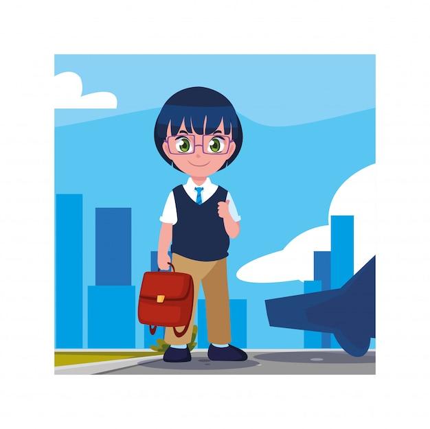 Rapaz estudante com mala de escola, volta às aulas