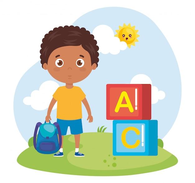Rapaz estudante com mala de escola, volta para ilustração de escola