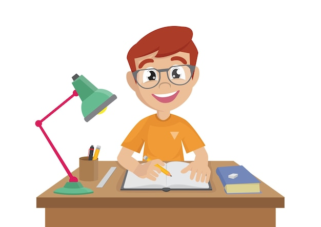 Rapaz faz um dever de casa.
