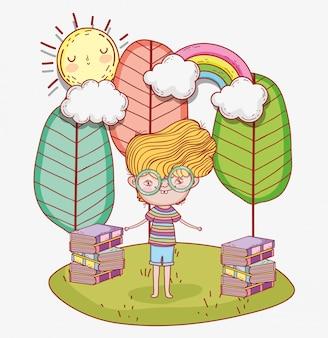Rapaz ler livros com árvores e nuvens