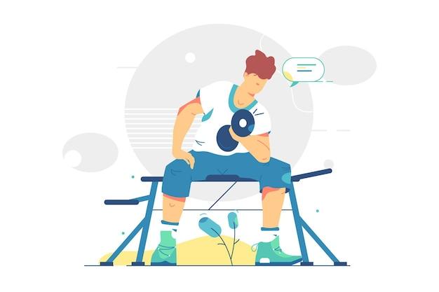 Rapaz levanta ilustração de halteres pesados