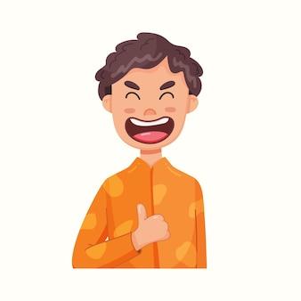 Rapaz mostra os polegares para cima. boa. ilustração vetorial em estilo simples