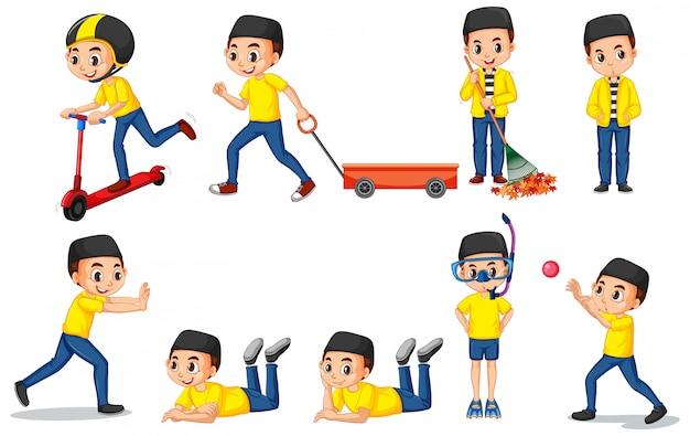 Rapaz muçulmano na camisa amarela fazendo coisas diferentes