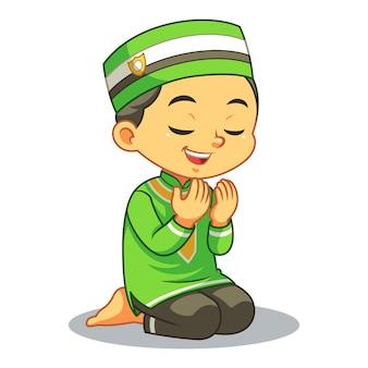 Rapaz muçulmano rezando dua