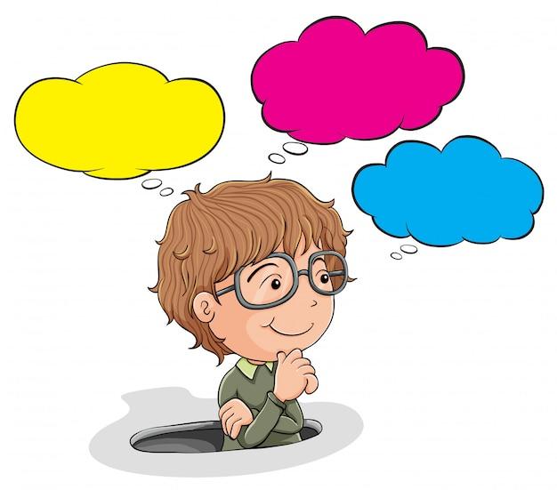 Rapaz nerd com balão de fala