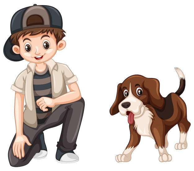 Rapaz pequeno e fofo cachorro beagle