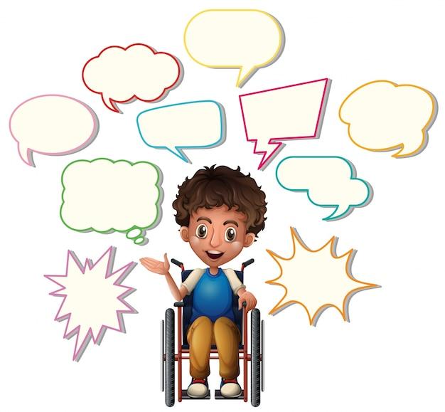 Rapaz pequeno em cadeira de rodas com bolhas de discurso em branco