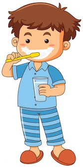 Rapaz pequeno escovando dentes