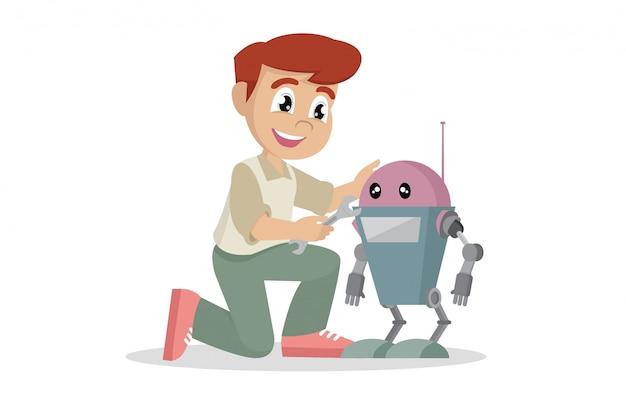 Rapaz, reparando o robô de brinquedo.