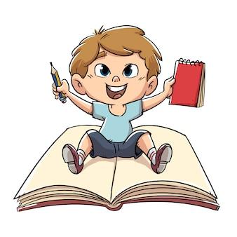 Rapaz sentado em um livro aberto
