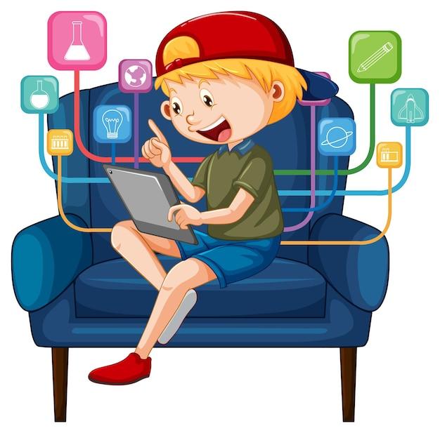 Rapaz sentado no sofá a aprender com o tablet