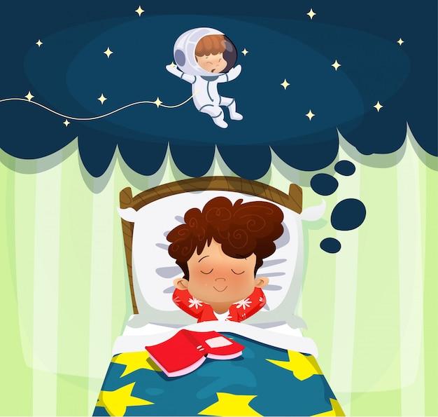 Rapaz sonhando com a futura profissão