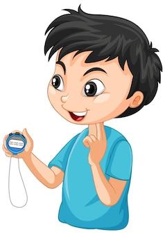 Rapaz treinador de esportes segurando um personagem de desenho animado com cronômetro