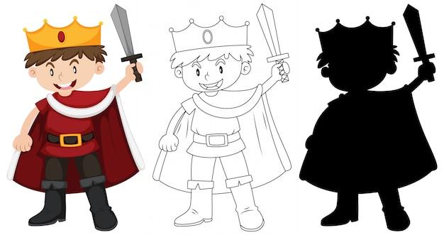 Rapaz vestindo fantasia de cavaleiro com seu contorno e silhueta