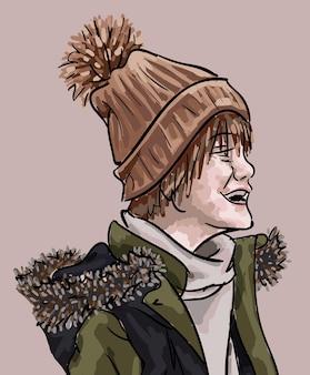 Rapaz vestindo roupas de inverno, rindo e olhando para o lado.