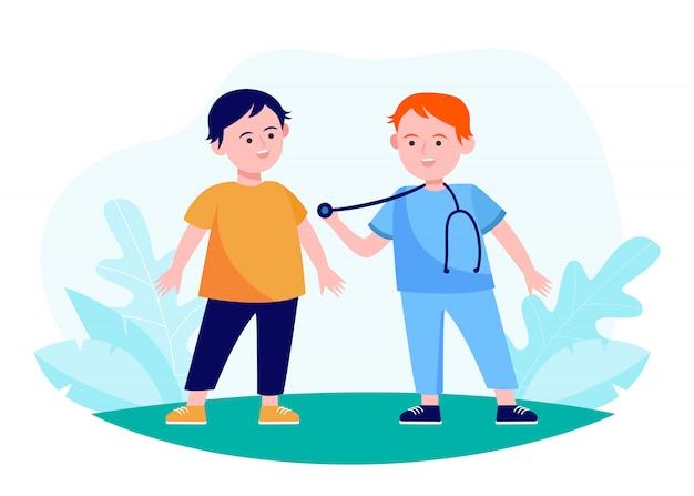 Rapazes agindo médico e paciente