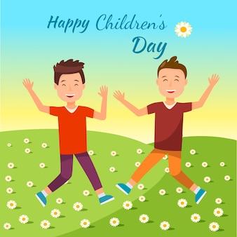 Rapazes alegres pulando com as mãos no campo verde