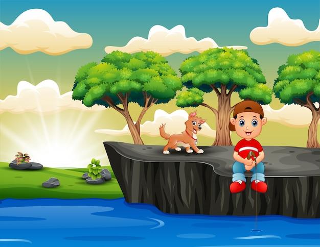 Rapazes dos desenhos animados de pesca e sentado no penhasco
