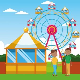 Rapazes dos desenhos animados em cima de roda gigante e paisagem