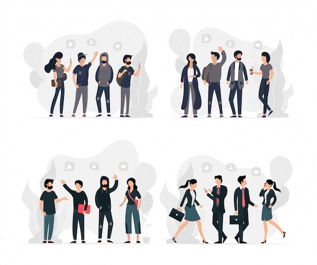 Rapazes e moças com vários empregos e atividades