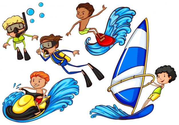 Rapazes que apreciam as atividades de esportes aquáticos