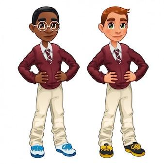 Rapazes vestindo uniforme escolar
